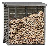 Kaminholzregal mit Rückwand für ca. 2 m³ Holz in grau von Gartenpirat®