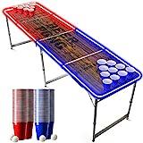 Offizieller Light Beer Pong Tisch Set | Mit LED Beleuchtung | LED Beer Pong Full Pack | Inkl. 1 Beer Pong Tisch + 120 Becher 53cl (60 Rot & 60 Blau) + 6 Ping-Pong-Bälle | Premium Qualität