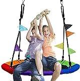 Jolitac Nestschaukel Tellerschaukel 120cm Garten-Schaukel Kinderschaukel für Kinder und Erwachsene mit Wimpel (Bunt 120cm)