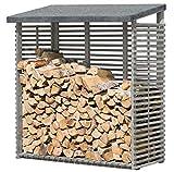 Kaminholzregal mit Rückwand für 1,8 m³ Holz grau von Gartenpirat®
