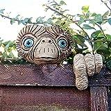 Yezytech Baumgesicht Gartenstatue,Gartengesicht Baumdekoration, skurrile Skulptur Harz Statuen für Bäume, Zäune und Wände, Garten Ornamente im Freien für Lawn Yard Patio (Baumgesicht Statue)