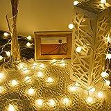 Lepro Lichterkette Kugeln 13M 100 LEDs, Partybeleuchtung Außen 8 Modi, ideale Strom Weihnachtsbeleuchtung für Innen Outdoor Balkon Garten Hochzeit Party Weihnachten Deko, Warmweiß Partylichterkette