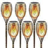 Worth Solarleuchte 109cm Solar Fackel Flammeneffekt 96LEDs IP65 Wasserdicht 3 Montagemodi Gartenleuchte Solarlampe Gartenfackeln (6 Stück, Gold)