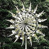 XIHUANNI Einzigartige und magische Metall-Windmühle, Solar-Windspiel, Outdoor, kinetische Bewegung mit Windskulpturen, Dekorationen für Garten, Hof, Terrasse, Rasenkunst