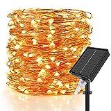 Speclux Solar Lichterkette Aussen, 30M/99Ft 300 LED Kupferdraht Lichterketten Aussen Innen Wasserdicht IP65, 8 Modi Weihnachtsbeleuchtun für Garten, Terrasse, Party, Balkon, Hochzeiten, Warmweiß
