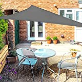 OKAWADACH Sonnensegel Dreieck 3x3x3m, 95% UV Schutz Polyester Sonnensegel Wasserdicht inkl Befestigungsseile Sonnensegel Sonnenschutz für Garten Balkon und Terrasse, Grau